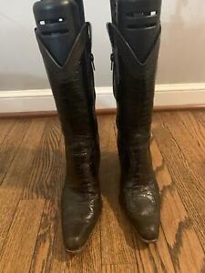 Stuart Weitzman Cowboy Boots Brown Leather Croc Size 7.5