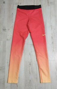 Nike Pro Hyperwarm Orange Coral Ombré Athletic Yoga Leggings Womens Small 803096