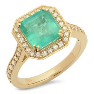 Certified 2.75cttw Emerald 0.60cttw Diamond 14KT Yellow Gold Ring