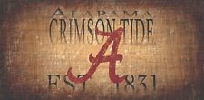 "Alabama Crimson Tide Throwback Retro Heritage Est 1831 Wood Wall Sign 12"" x 6"""