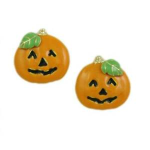Orange Enamel Jack O Lantern Pumpkin Halloween Pierced Earring - PF242E