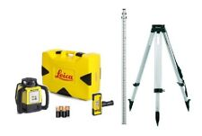 Rotating Laser Leica Rugby 620 Rod Eye 120 w/ Tripod & Rod Package