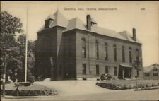 Canton MA Memorial Hall Postcard