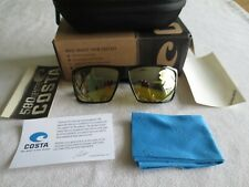 Costa del mar shiny black frame polarized mirror sunglasses. New with case.
