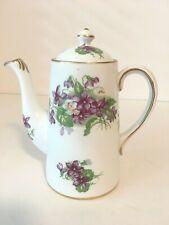 Vintage Royal Chelsea England Spring Violets Teapot White Gold Lavender Purple