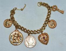 Vintage Roman Coins 4 Leaf Clover In Heart & Key Charm Gold Tone Bracelet Sz 7