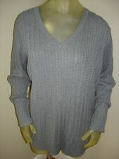 NWT $42 Laura Scott Gray V-Neck Cable Knit Sweater Womens size 1X