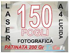 CARTA PATINATA LUCIDA  A4 , STAMPANTI LASER, RIVISTE VOLANTINI 200gr 150 FOGLI
