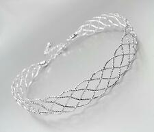 SHIMMERY CHIC Silver Metal Lattice Weave Braided Choker Necklace