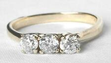 3 Stone Trilogy Wedding Anniv Band Ring Vintage 14k Gold .60 Ct European Diamond