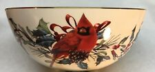 "Lenox Ceramic Christmas Winter Greetings Bowl, Cardinal & Holly, 8"" Beautiful"