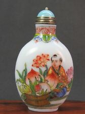Chinese Boy Peach Hand Painted Peking Enamel Glass Snuff Bottle