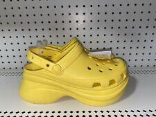 Crocs Classic Bae Womens Rubber Platform Clogs Size 8 Sunshine Yellow