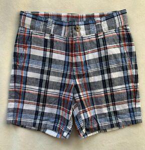 JANIE AND JACK Boys Plaid Linen Cotton Shorts Adjustable Waist Blue NWT SIZE 4