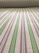 Pink and Green Stripe Fabric BY THE YARD