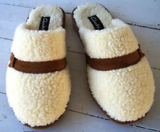 Clarks White Fleece Mule Slippers~Men's 9M/Women's 11M~New without Box
