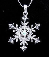 Snowflake Austrian Crystal Silver Tone Frozen Pendant Frozen Necklace Bridal
