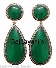 Rose Cut Diamond Gold Silver Earring Exquisite Handcrafted 68.66 Ct.Green Onyx &