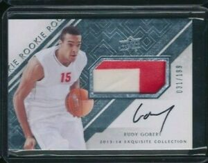 2013-14 Upper Deck Exquisite Collection RUDY GOBERT RC Rookie Patch Auto 31/199