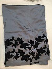 Z Gallerie Curtains Silver grey with black Velvet Floral appliqué 2 Panels
