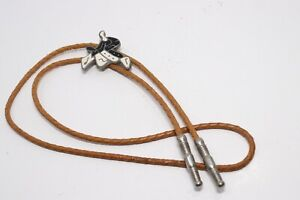 Vintage Western Bolo String Tie Saddle Horse Riding Enameled Leather Tan Rope
