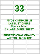 MYOB COMPATIBLE LABELS STICKERS 33 X 10 SHEETS ACCOUNTS BILLING STATIONERY