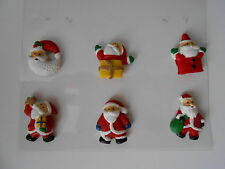 PACK 6 SELF ADHESIVE SANTA RESIN EMBELLISHMENTS FOR CARDS AND CRAFTS