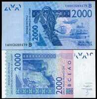 WEST AFRICAN STATE BENIN 2000 2,000 FRANCS 2003 / 2014 P 216 B UNC