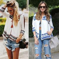 Womens Vintage Floral Loose Shawl Kimono Cardigan Boho Coats Tops Jacket Blouse