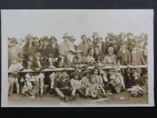 Group Photograph at Event Seated behind fence Union Jack Flag & Flowers Old RPPC