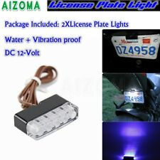 12V LED Blue License Plate Tag Lights Lamps ATV Motorcycle Car Scooter Universal