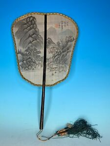 OLD CHINESE REPUBLIC PERIOD HAND PAINTED ON SILK ANTIQUE HAND FAN SIGNED