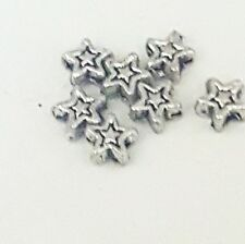 50 x Star shaped Tibetan style beads antique silver colour 5.1mm hole 0.8mm