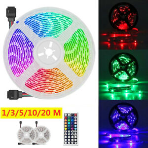 20M RGB 3528 LED Strip Lights With IR Remote Back Light 12V Colour Changing UK