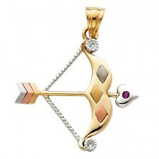 14K Tri Color Gold CZ Bow & Arrow Pendant GJPT1527
