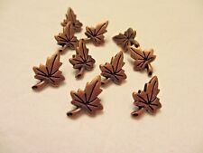 "3/4""  19 mm Metal  Copper  tone Leaf Leaves with Shank Back Buttons (10)"