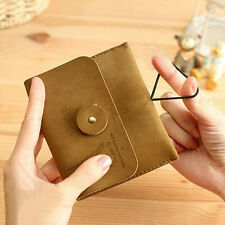 Velour Leather Wallet Vintage Tower Purse Clasp Button Coin Card Key Bag Khaki