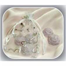 5 Lavender Soy Wax mini-roses in organza bag to scent your wardrobe/draw/closet