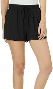 BeBop Shorts Solid Black Size Small S Junior Pull On Pom Trim Soft Knit 935