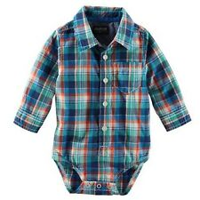 OshKosh B'Gosh Newborn & Infant Boy's Shirt Bodysuit - Plaid 6M 6 Month -NEW-