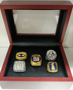 New York Giants - Championship 5 Ring Set W/ Wooden Box.. Manning Simms Taylor