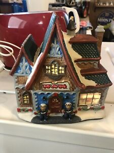 HOLIDAY TIME CHRISTMAS VILLAGE HOUSE - TOYS FOR TOTS WITH LIGHT CORD