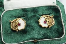 SUPERB ANTIQUE RUSSIAN 14K GOLD ENAMEL RUBY CUFFLINKS by IVAN HLEBNIKOV c1910
