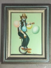 "Vtg Oil on CANVAS ORIGINAL Clown Unicycle Balloon 16"" x 12"" Painting by Hoppin"