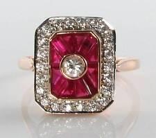 LUSH 9K 9CT ROSE GOLD INDIAN RUBY & DIAMOND ART DECO INS RING FREE RESIZE