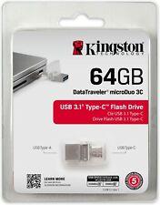 KINGSTON PENDRIVE 64GB MICRO DUO OTG TYPE-C DTDUO3C/64GB USB 3.1 CHIAVETTA PC