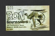 New listing VINTAGE / RETRO RON SURFBOARDS Sticker Decal Surfboard 1960's LONGBOARD SURFER