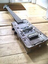 More details for handmade us license plate guitar.