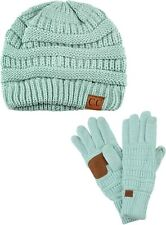 C.C Unisex Soft Stretch Cable Knit Beanie and Anti-Slip Touchscreen Gloves 2 Pc