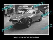 OLD LARGE HISTORIC PHOTO OF DATSUN 240Z GENEVA MOTOR SHOW LAUNCH DISPLAY 1970